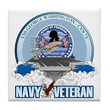 Navy Veteran CVN-73 Tile Coaster