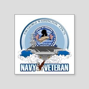 "Navy Veteran CVN-73 Square Sticker 3"" x 3"""