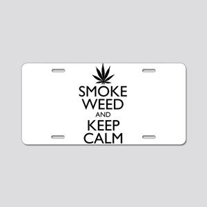 Smoke Weed and Keep Calm Aluminum License Plate