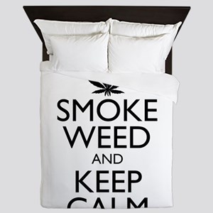 Smoke Weed and Keep Calm Queen Duvet