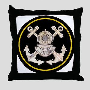 3-Bolt Dive Helmet and Anchors Throw Pillow