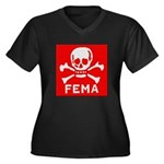FEMA Women's Plus Size V-Neck Dark T-Shirt