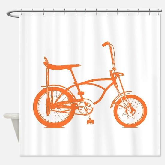Retro Orange Banana Seat Bike Shower Curtain