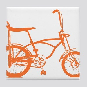 Retro Orange Banana Seat Bike Tile Coaster
