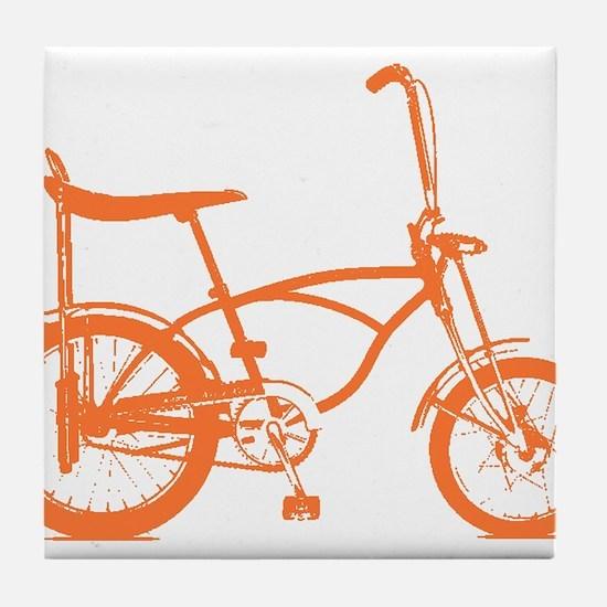 Retro Orange Banana Seat Bike Tile Coaster
