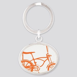 Retro Orange Banana Seat Bike Oval Keychain