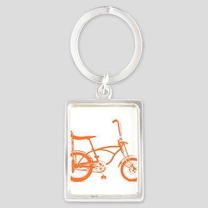 Retro Orange Banana Seat Bike Portrait Keychain