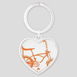 Retro Orange Banana Seat Bike Heart Keychain