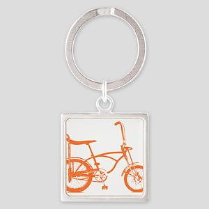 Retro Orange Banana Seat Bike Square Keychain
