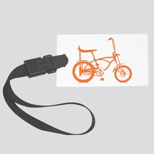 Retro Orange Banana Seat Bike Large Luggage Tag