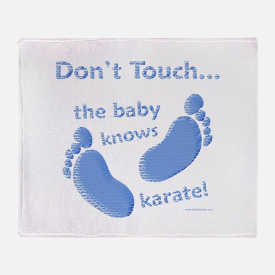 Karate Baby Blue Throw Blanket