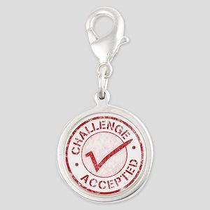 Challenge-Accepted-Round Silver Round Charm