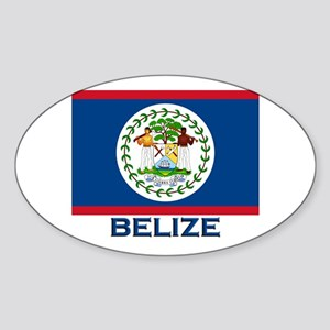 Belize Flag Merchandise Oval Sticker