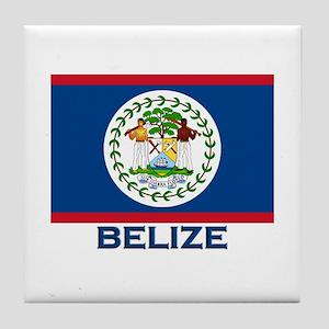 Belize Flag Merchandise Tile Coaster