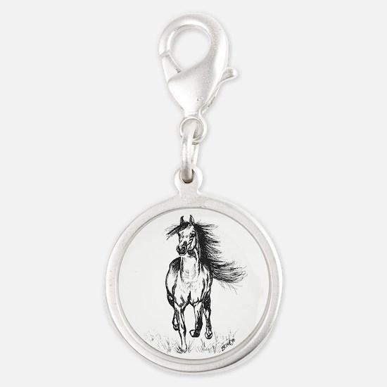 Runner Arabian Horse Silver Round Charm