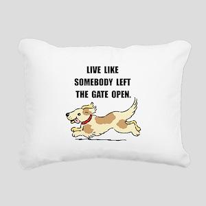Dog Gate Open Rectangular Canvas Pillow