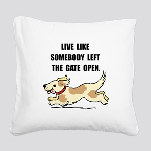Dog Gate Open Square Canvas Pillow