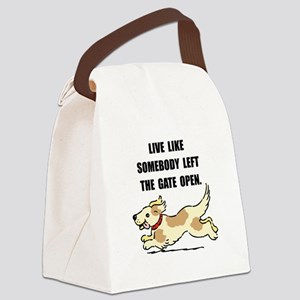 Dog Gate Open Canvas Lunch Bag