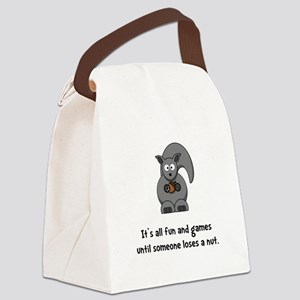 Squirrel Nut Black Canvas Lunch Bag