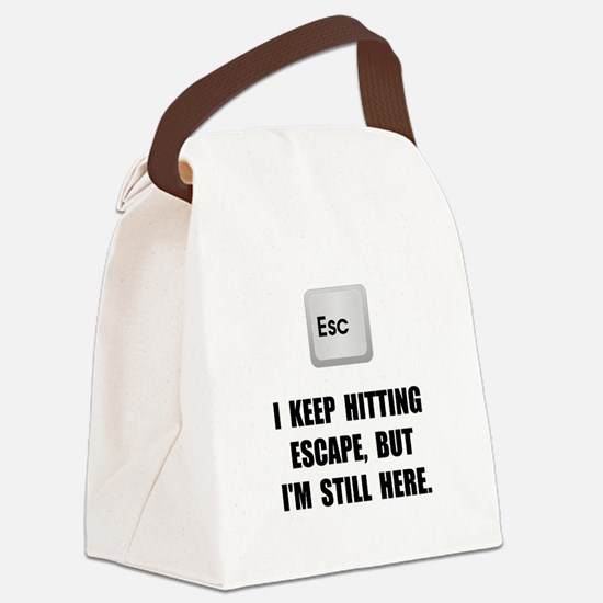 Hitting Escape Key Canvas Lunch Bag