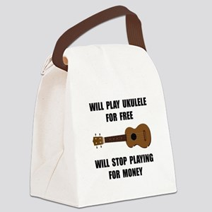 Ukulele Playing Canvas Lunch Bag