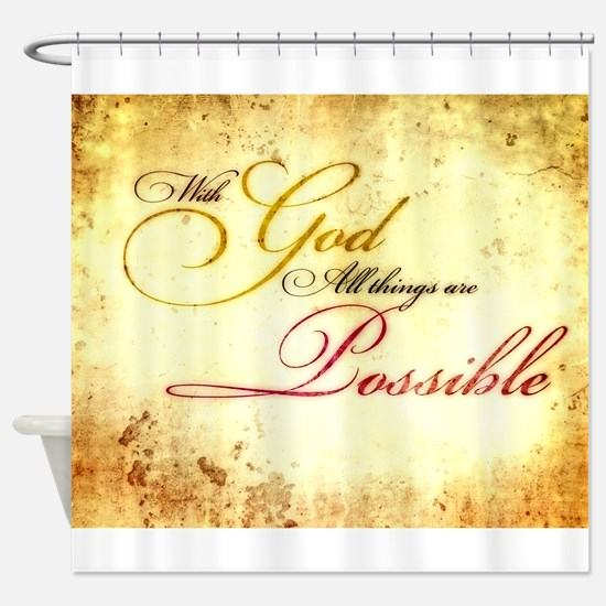 with god gold vintage Shower Curtain