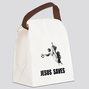 Jesus Saves Soccer Canvas Lunch Bag