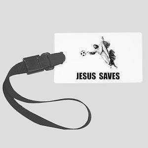 Jesus Saves Soccer Large Luggage Tag