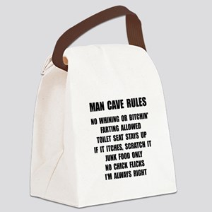 Man Cave Rules Canvas Lunch Bag