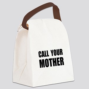 Call Your Mother Black.png Canvas Lunch Bag