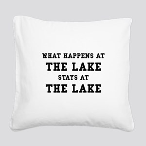 Happens At Lake Square Canvas Pillow