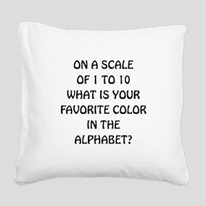 Favorite Color Alphabet Square Canvas Pillow