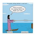 Jesus Waterskiing Tile Coaster