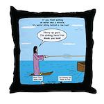 Jesus Waterskiing Throw Pillow