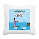 Jesus Waterskiing Square Canvas Pillow