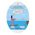 Jesus Waterskiing Ornament (Oval)