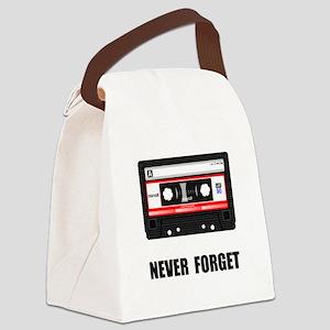 Never Forget Cassette Black Canvas Lunch Bag