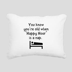 Happy Hour Nap Black Rectangular Canvas Pillow