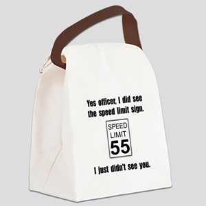 Speed Limit Black Canvas Lunch Bag