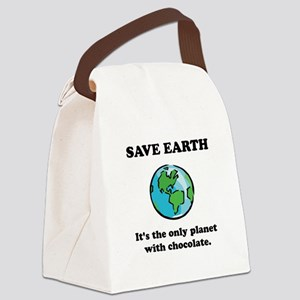 Save Earth Chocolate Black Canvas Lunch Bag