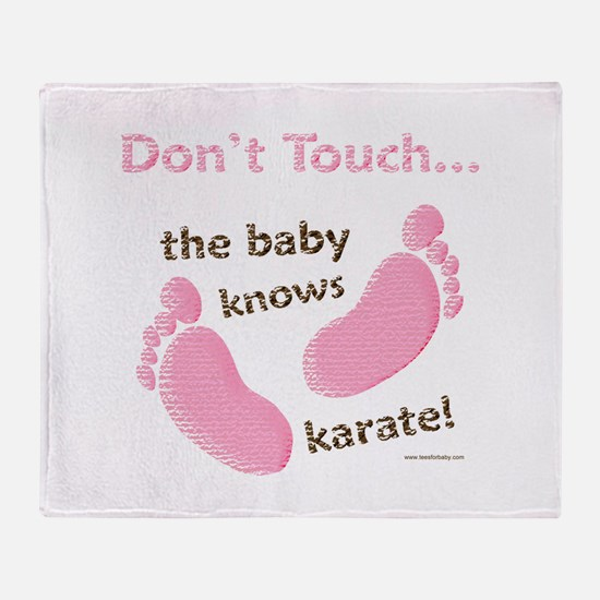 Karate Baby Green Throw Blanket