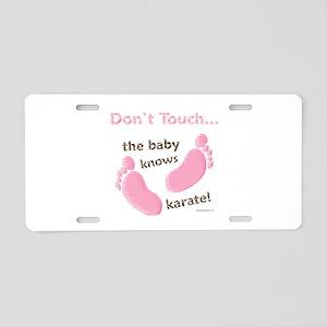 Karate Baby Green Aluminum License Plate