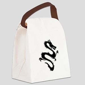 Chinese Zodiac Dragon Black Canvas Lunch Bag