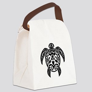 Sea Turtle Black Canvas Lunch Bag