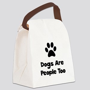 Dogs People Too Black Canvas Lunch Bag