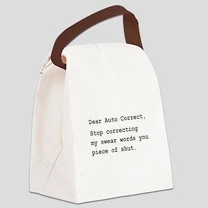 Auto Correct Swear Black Canvas Lunch Bag