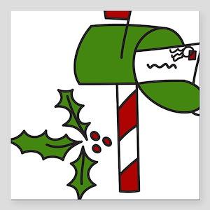 """Christmas Mailbox Square Car Magnet 3"""" x 3"""""""