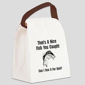 Fish Bait Black Canvas Lunch Bag