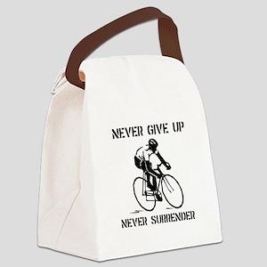 Never Give Up Biker Black Canvas Lunch Bag