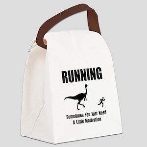 Running Motivation Black Canvas Lunch Bag
